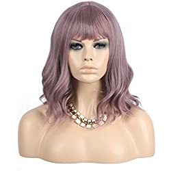 "eNilecor Purple Wig Short Colorful Wavy Bob Wigs with Air Bangs 14"" Natural Wigs for Women (Taro Purple)"
