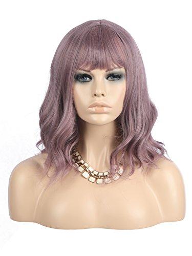 eNilecor Purple Wig Short Colorful Wavy Bob Wigs with Air Bangs 14