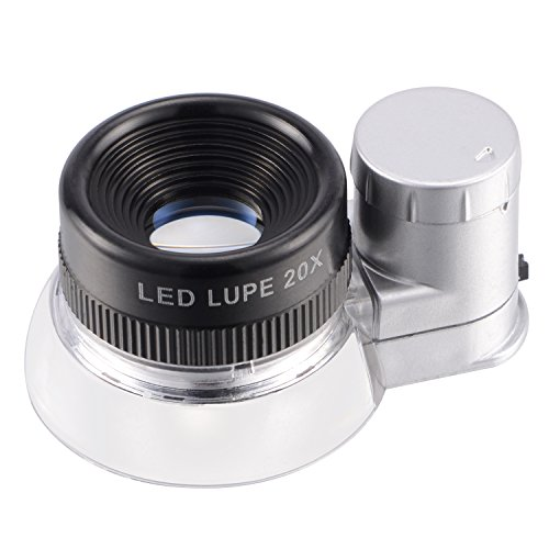tm-home LED Illuminated 20X Jewelers Loupe Magnifier, Premium Aluminum Magnifying Eye Loop Best for Jewelry, Diamonds, Gems, Coins, Engravings and More