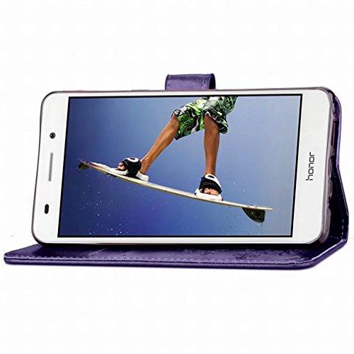 Yiizy Huawei Honor Holly 3 / Huawei Y6 II Custodia Cover, Tre Foglia Erba Design Sottile Flip Portafoglio PU Pelle Cuoio Copertura Shell Case Slot Schede Cavalletto Stile Libro Bumper Protettivo Borsa