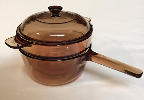 Corning Visions Vision Ware Amber 3 Piece Double Boiler Sauce Pan w/ Lid