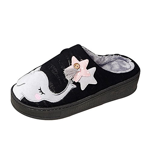 Indoor Womens House Slippers Outdoor Elephant SITAILE Autumn Warm Cozy Cute black Breathable Winter Shoes 0ZFU6wqxSw