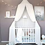 Children Bed Canopy, Baby Bedding Dome crib canopy, Kids Princess Reading Tent Hanging Cotton Mosquito Net, Nursery Decorations, Room Decoration for Kids(White)