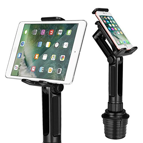 TNP Cup Mount Holder for Tablet and Smartphone, Universal Car Cup iPad Mount w/Swivel Arm Extendable Clamp for Devices with 4-10.5 inch Display, Compatible w/iPad iPhone Samsung Uber Lyft Drivers