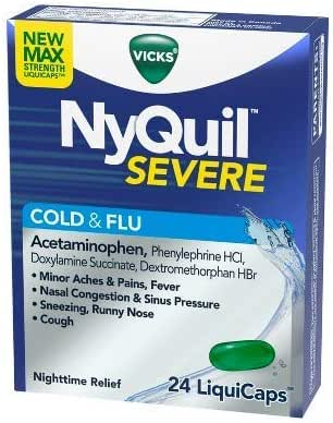 NyQuil Severe Cold & Flu Nighttime Relief Liquicaps - Acetaminophen (Pack of 2)