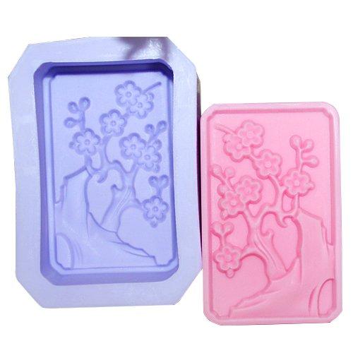Rectangular cherry blossoms soap mold