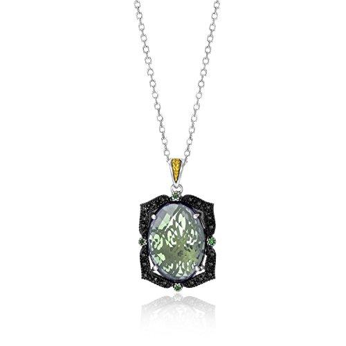 Jewels By Lux 18K Yellow Gold & Sterling Silver Oval Amethyst, Tsavorite, Diamond Pendant