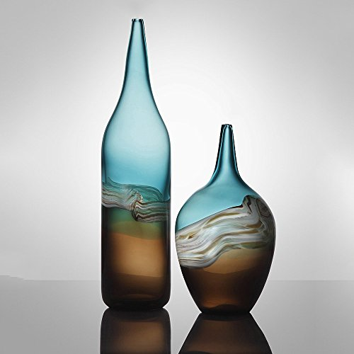 Baallerina Hand Blown Glass Vase Blue And Brown Waves