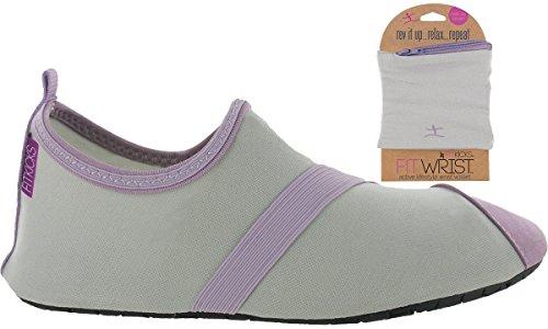Fitkicks Damesschoenen Met Fitwrist Portemonnee, Grijs / Lavendel Schoen Grijs