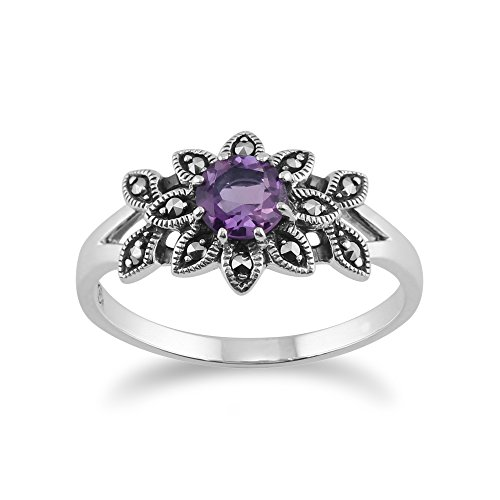 (925 Sterling Silver Floral Art Deco Amethyst & Marcasite)