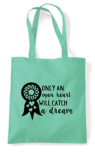 Only An Heart Open Will Dreamcatcher A Catch Shopper Dream Bag Mint Tote Statement rUwrxpq