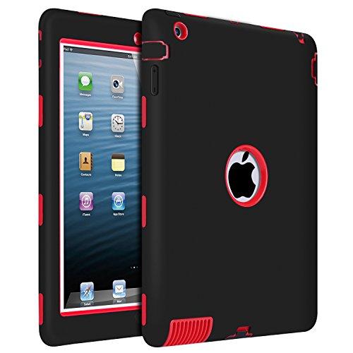 iPad 2 Case, iPad 3 Case, iPad 4 Case, BENTOBEN Heavy Duty Rugged Shock-Absorption/High Impact Resistant Hybrid Three Layer Armor Full Body Protective Case Cover for iPad 2/3/4 Retina - Black/Red (A 3 Md328ll Apple Ipad)