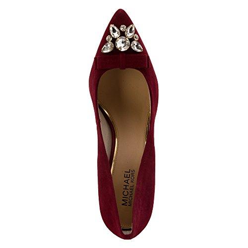 68faaf31d87 Michael Michael Kors Felicity Pump Women Pointed Toe Suede Burgundy Heels  hot sale