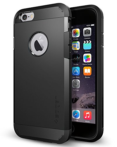 Spigen Tough Armor iPhone 6 Case with Extreme Heavy Duty Protection and Air Cushion Technology for iPhone 6S / iPhone 6 - Smooth Black ()
