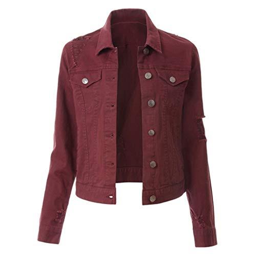 DONTAL Women Casual Slim Buttons Blazer Denim Lapel Jacket Jean Coat Bead Outwear Overcoat Wine