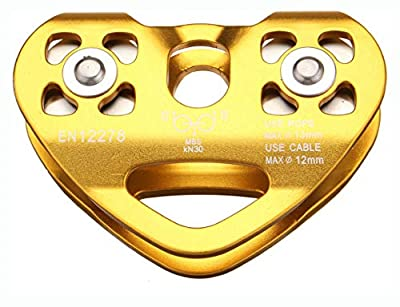 PROGLEAM Carabiner & Paracord, 30KN Golden Outdoor Rock Climbing Dual Pulley Zip Line Rescue Cable Trolley