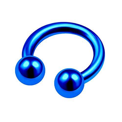 Blue Titanium 14 Gauge 5/16 8mm Horseshoe Nose Ring Piercing Jewelry Cartilage Septum Nose Eyebrow Helix 6mm Ball M5203