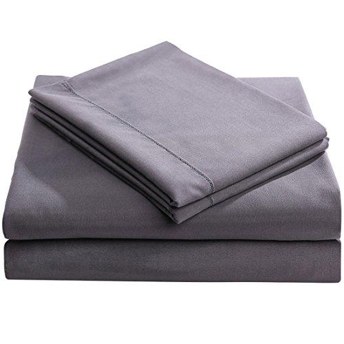 best balichun microfiber 4 piece bed sheet set with 18 inch deep pocket queen size dark grey. Black Bedroom Furniture Sets. Home Design Ideas