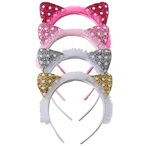 4 PCS Sequins Cat Ear Headband Glitter Gauze Cats Hair Hoop Sparkle Hair Accessories for Girls