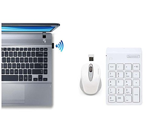 2-in-1 Keyboard Set.Numeric Keypad &Optical Mouse Combos 2.4G Mini USB Numeric Keyboard with Usb receiver for Office Laptop Desktop PC Notebook (white) by Langking (Image #4)