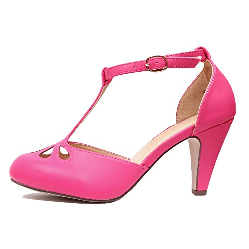 Pu Pump Cutout Heel Teardrop Party Mid Tstrap Retro Heart Fuchsia Dress Womens Comfortable Sandal Guilty wqxTX76w