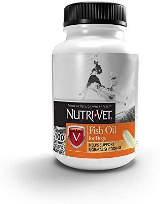 Nutri-Vet Fish Oil Supplements for Dogs Skin and Coat Omega 3 Supplement Dog Dry Skin Dog Shedding Support 100 Count Softgels
