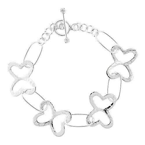 Sterling Silver Butterfly Toggle (Sterling Silver Butterflies Toggle Bracelet, 7.5 inches long)