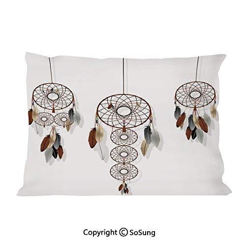 SoSung Native American Bed Pillow Case/Shams Set of 2,Indian Boho Dreamcatcher Collection Mystic Psychedelic Ethnic Band Group Indie King Size Without Insert (2 Pack Pillowcase 36