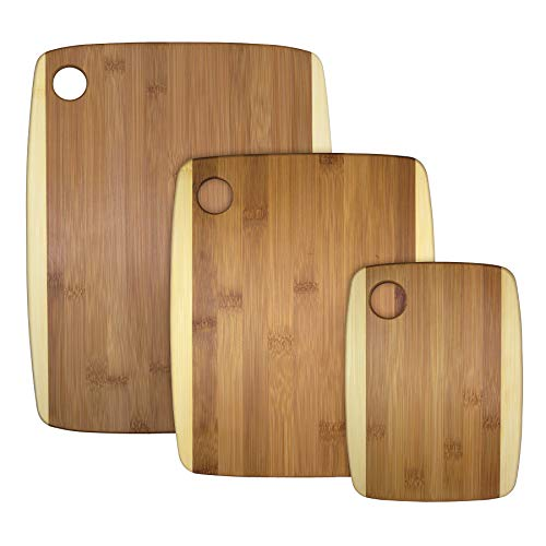 - Totally Bamboo 3-Piece Two-Tone Bamboo Serving and Cutting Board Set