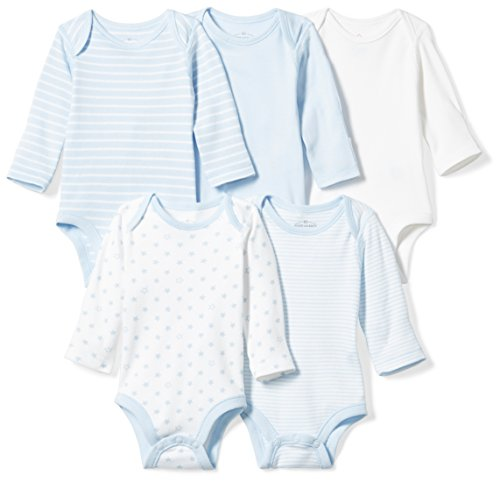 Moon and Back Baby Set of 5 Organic Long-Sleeve Bodysuits, Blue Sky, Newborn