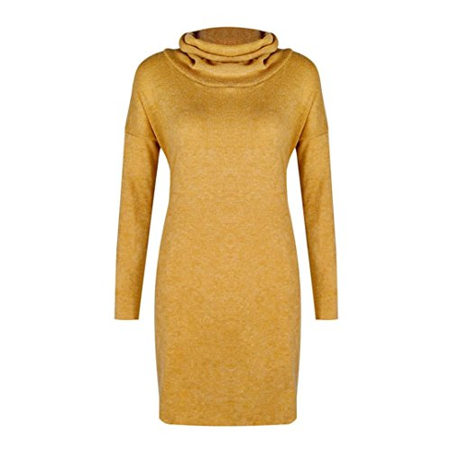 Pull col HUHU833 Jaune Hiver Robe Manches Longues Haut Femme Robe Pull 4w4Itq