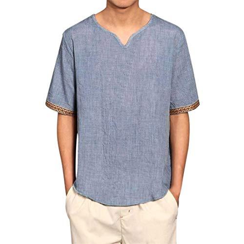 YOcheerful Mens Short Sleeve Shirt Tee Top Solid Plus Size Sweatshirt Knit Club (Blue,2XL) from YOcheerful
