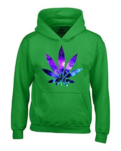 Marijuana Leaf GALAXY Hoodies #61367 Weed Smokers Hoodies Medium Irish Green