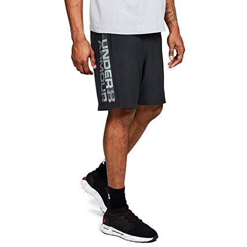 (Under Armour Men's Woven Graphic Wordmark Shorts, Black /Zinc Gray, Large )