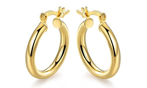 (10K Solid Gold 3X20MM thick Round Hoop Earrings- French Lock Closure)
