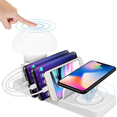 ワイヤレスQC 3.0サムスンのiPhoneアップルの携帯電話とAndroidデバイス用のクイック充電、LEDナイトライト、スタンドを充電ドックデスクトップ充電ステーション、マルチ3ポートUSB充電