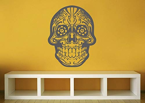 Skull Decor Day of The Dead Wall Decal Mexican Holiday Mexico Skull Decor Halloween Decorations Goth Gothic Home Teeth Skeleton and Stick Made in USA -