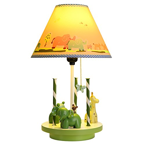 Dimmable Night Lights for Kids,Revolved Animal Field Table Lamp Handmade Nightstand Lamps Imagination Inspiring with Fabric Odorless Noiseless Lampshade for Children Bedroom,Sturdy,Nursery Room (Lamp Spinning Shade)