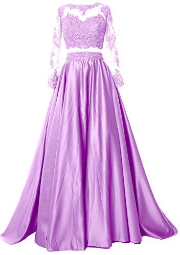 Dress Formal Sleeve Prom Evening Long Two Lavendel Satin Gown Piece Lace Women MACloth XIwzYqZq