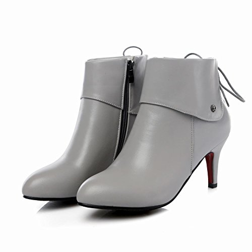 Grace High Solid Short Stiletto Heel Color Work Boots Grey Carolbar Women's Zip qXWft4wWTx