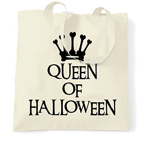 Canvas Tote Bag Queen Of Halloween Spooky Scary Costumes Creepy Royal Crown Bones Skeleton Ghost Vampire Witch Sweets Candy Reusable Ecofriendly Shopping Bag Washable Tote Bags for Women