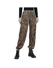 Splash Cheetah Pattern Elastic Waist Slim-fit Polyester Pants for Women - Beige and Black, S