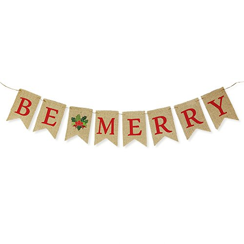 Happy Holidays Sign (Be Merry Natural Burlap Bunting Christmas Holiday Banner Decoration - 1 piece Precut Swallow-Tailed Light Brown Jute Pennant Fabric Hanging Sign with Colorful Red Letters and Red and Green Holly)
