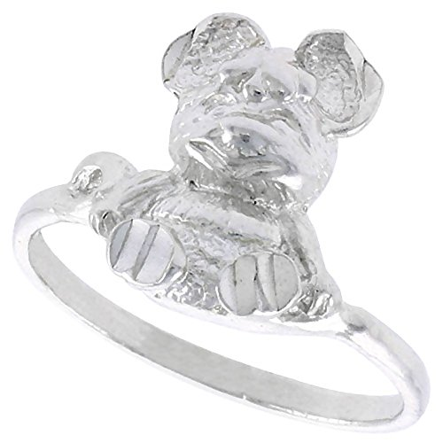 - Sterling Silver Teddy Bear Ring Polished finish 9/16 inch wide, size 9