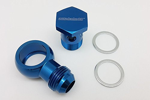 Blue M22 22mm to -8AN Male Flare Banjo Setrab Compatible, M22 22mm P1.5 Banjo Bolt Autobahn88 Aluminum Oil Cooler Banjo Fitting