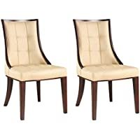 International Design USA Barrel Dining Chair, Tan Leather, Set of 2