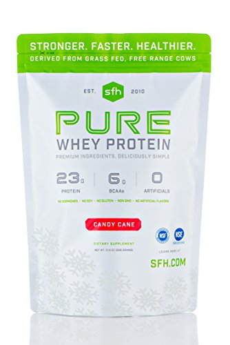 Gainer Double Vanilla Cream - PURE Whey Protein Powder (Candy Cane) by SFH | Best Tasting 100% Grass Fed Whey | All Natural Non-GMO, No Artificials, Soy Free, Gluten Free | 2lb bag (896g)