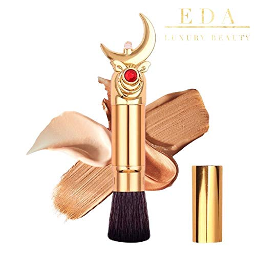 EDA LUXURY BEAUTY ROYAL MOON GOLD EXCLUSIVE MAKEUP BRUSH WITH COVER Flawless Flat Top Design Perfect Blending Blush Foundation Bronzer Contour Highlighter Powder Best Retractable Kabuki Brush Vegan