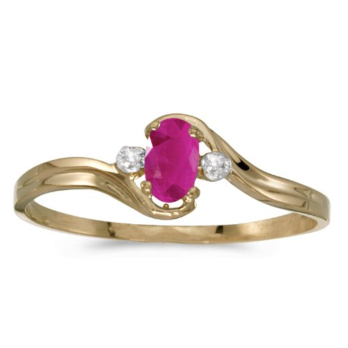 0.19 Carat ctw 10k Gold Oval Red Ruby Solitaire & Diamond Accent Bypass Swirl Fashion Promise Ring - Yellow-gold, Size 4.5