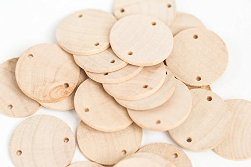 """60 PCS Unfinished Wood Discs Coins Circles with Holes - DIY Family Birthday - Birthday Board Tags - 1.5"""" (3.8 cm) Diameter Pendant ( disc Solid Wood with 2 Hole)"""